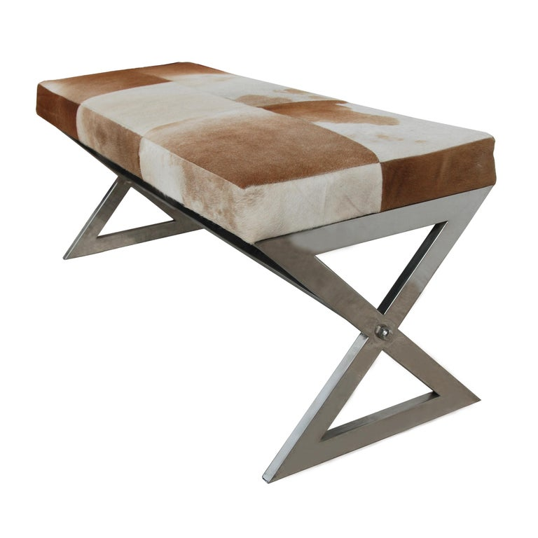 Modern Cowhide Bench with Chrome Frame In Good Condition For Sale In Pasadena, TX