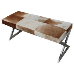 Modern Cowhide Bench with Chrome Frame