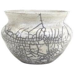 Modern Crackle Glaze Pottery Bowl