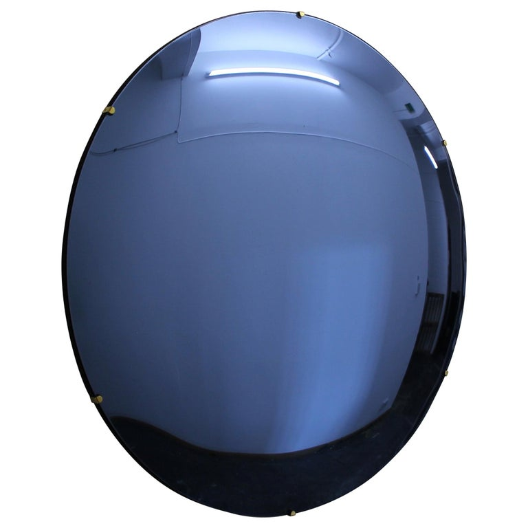 Modern Crafted Frameless Orbis Blue Convex Mirror For Sale