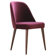 Modern Cranberry Velvet Fabric Chair with Walnut Base
