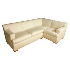 Modern Cream Linen Sofa Sectional Form