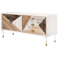 Modern Credenza Multi Wood Fronts Lucite and Brass Accents