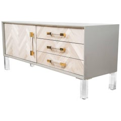 Modern Credenza with Lucite & Brass Accents with Bleached Walnut Door
