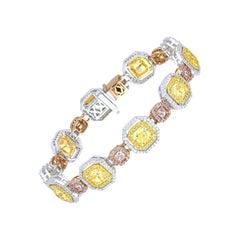 Modern Crossover Pink and Yellow Diamond Tennis Bracelet, 10.27 Carat