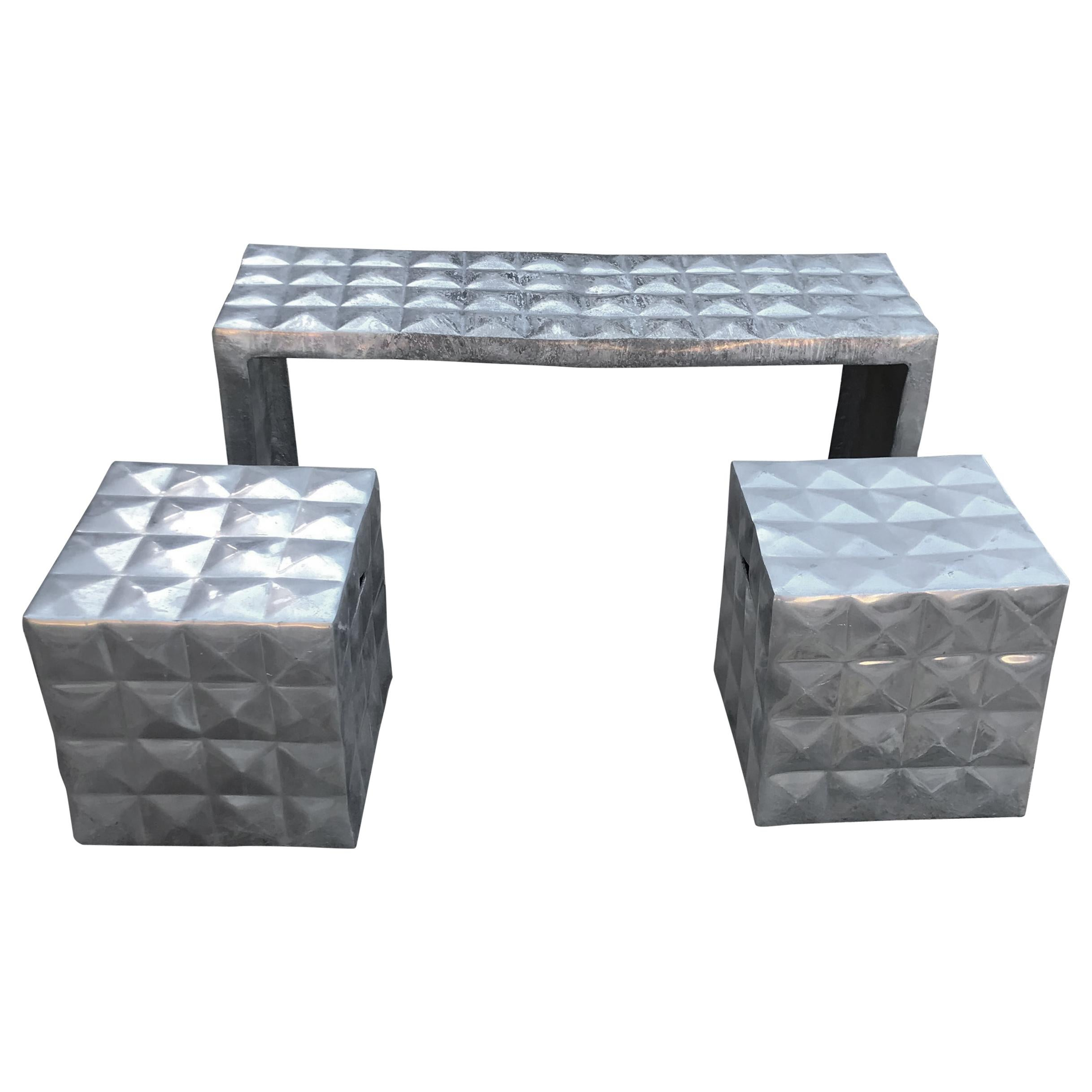 Modern Cube Side Tables & Bench Set in Aluminum 1970 Paul Evans Style