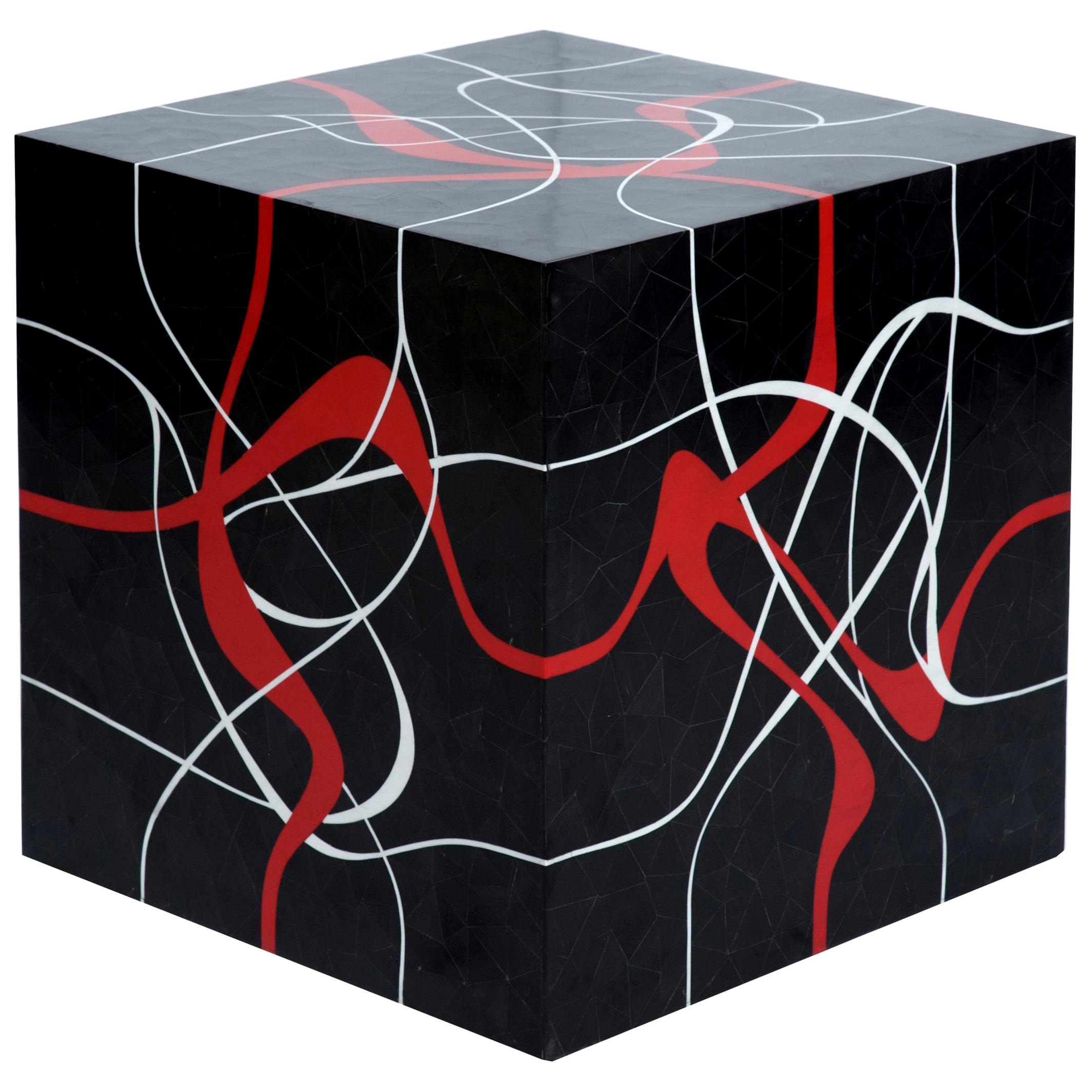 Modern Cube Table in Tessellated Horn with Graphic Red & Grey Resin Inlay- Dune