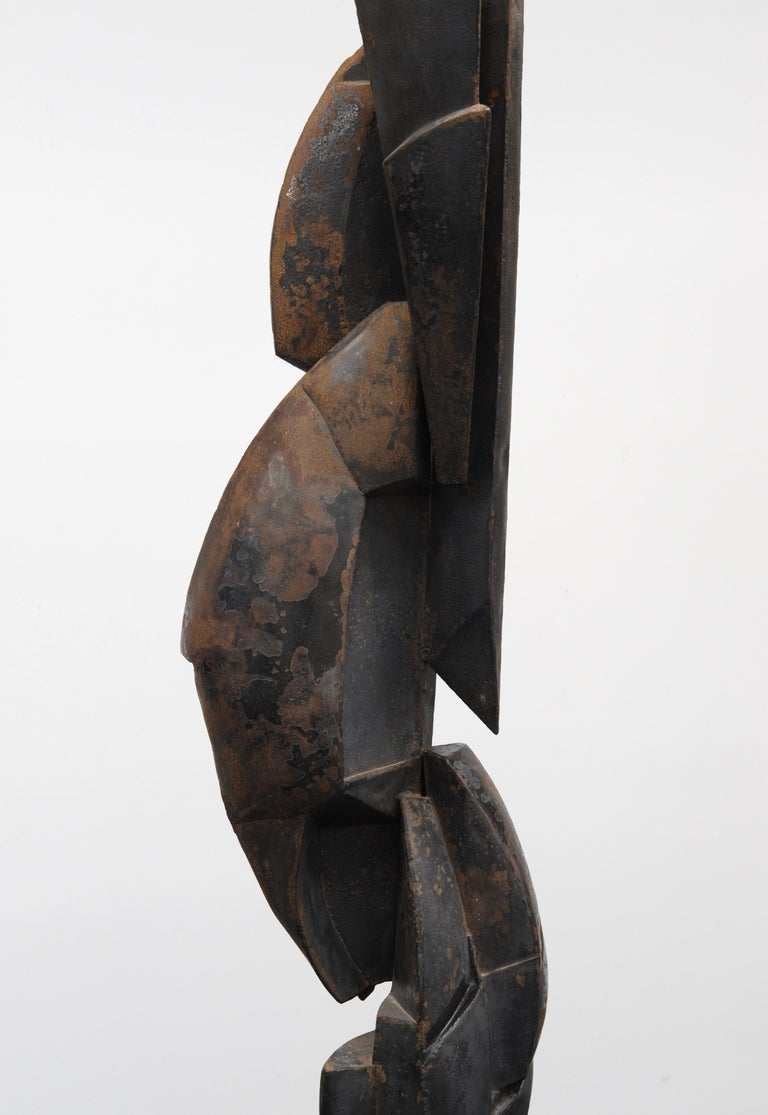 Modern Cubist Abstract Metal Sculpture, 1950s For Sale 3