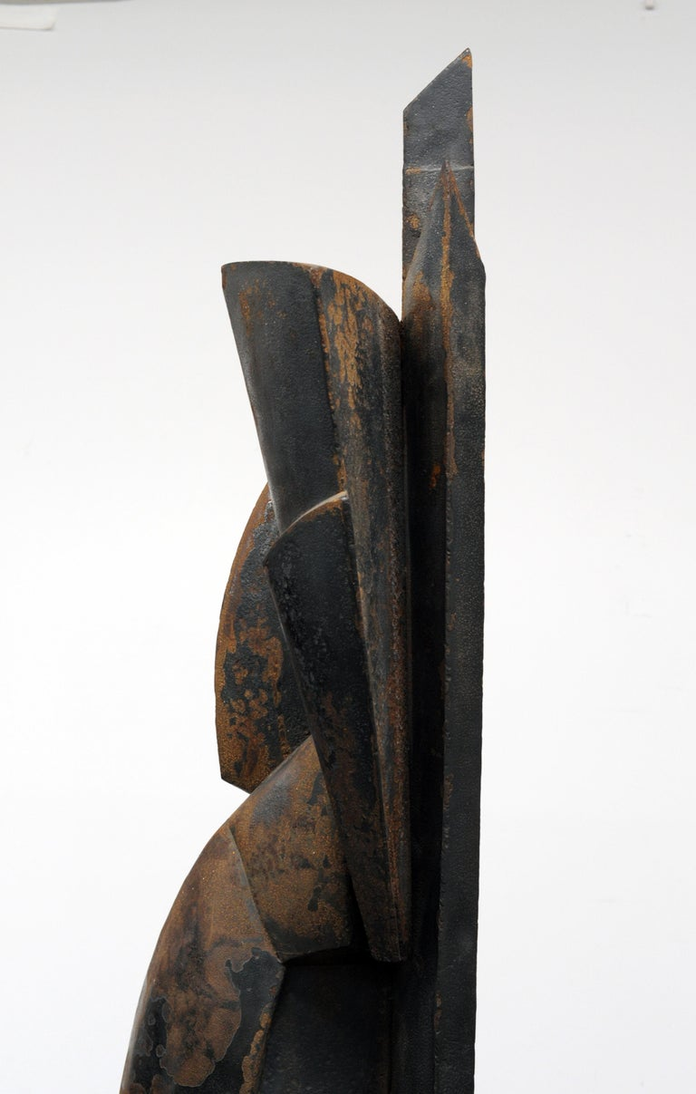 Modern Cubist Abstract Metal Sculpture, 1950s For Sale 4