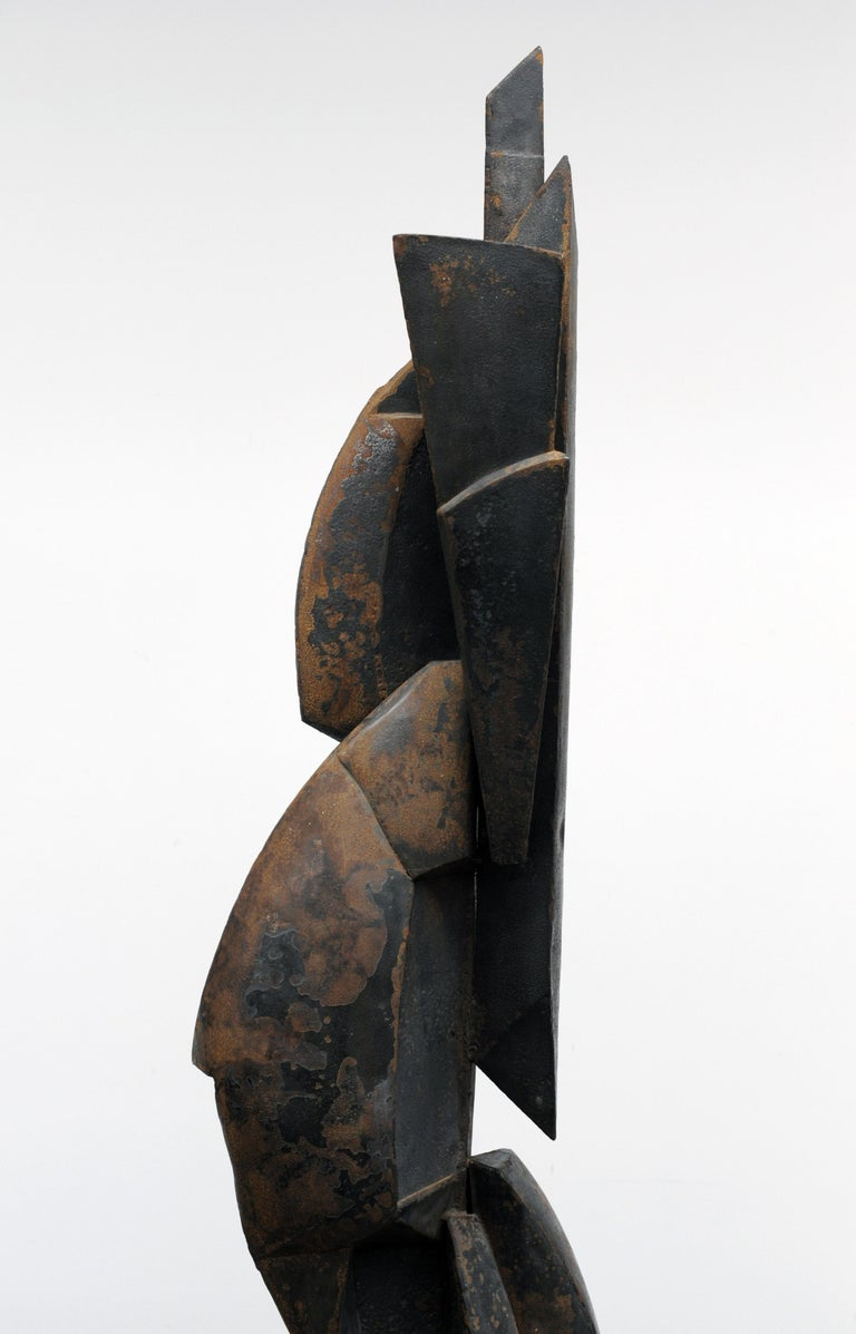Modern Cubist Abstract Metal Sculpture, 1950s For Sale 5
