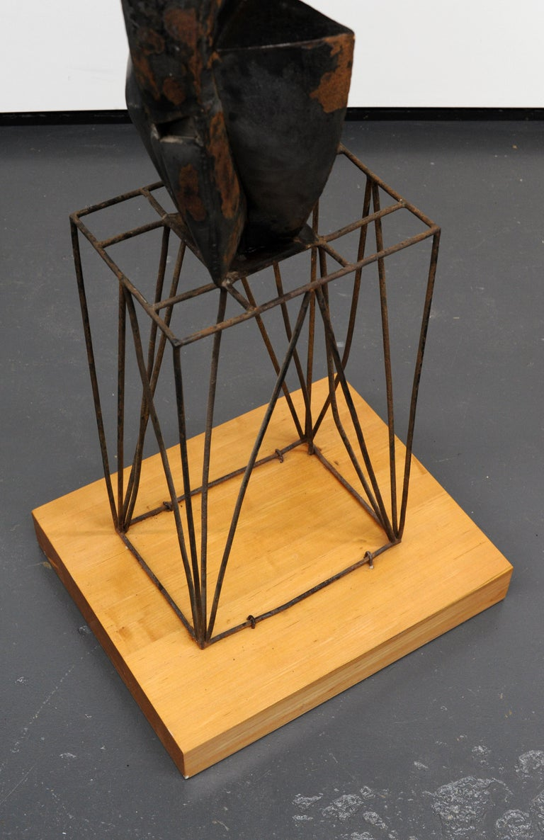 Modern Cubist Abstract Metal Sculpture, 1950s For Sale 7