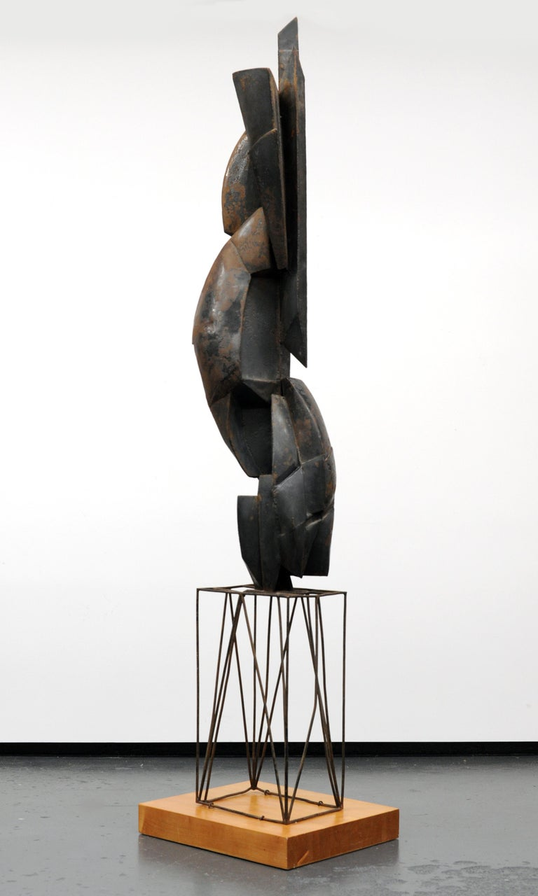 Wonderful and large modern cubist sculpture. Beautifully executed in welded steel. Sculpture measures 81 inches high. Apparently unsigned. European from the 1950s.