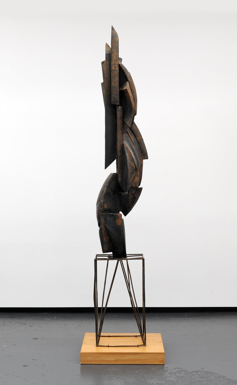 European Modern Cubist Abstract Metal Sculpture, 1950s For Sale