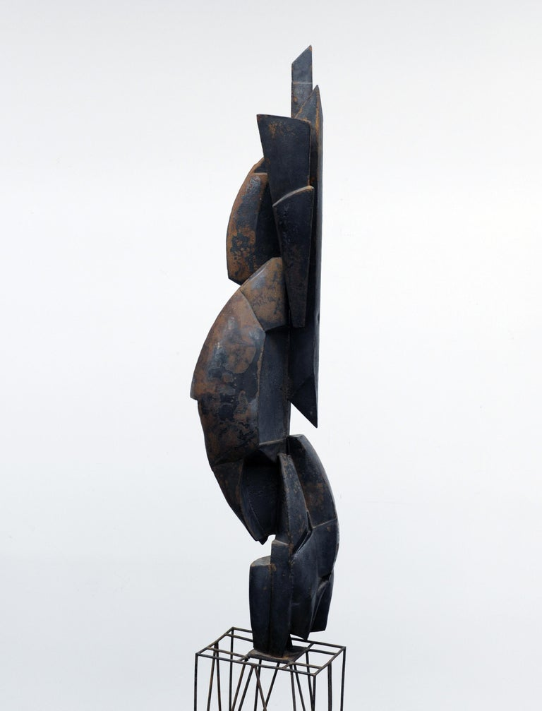 Modern Cubist Abstract Metal Sculpture, 1950s In Fair Condition For Sale In Washington, DC