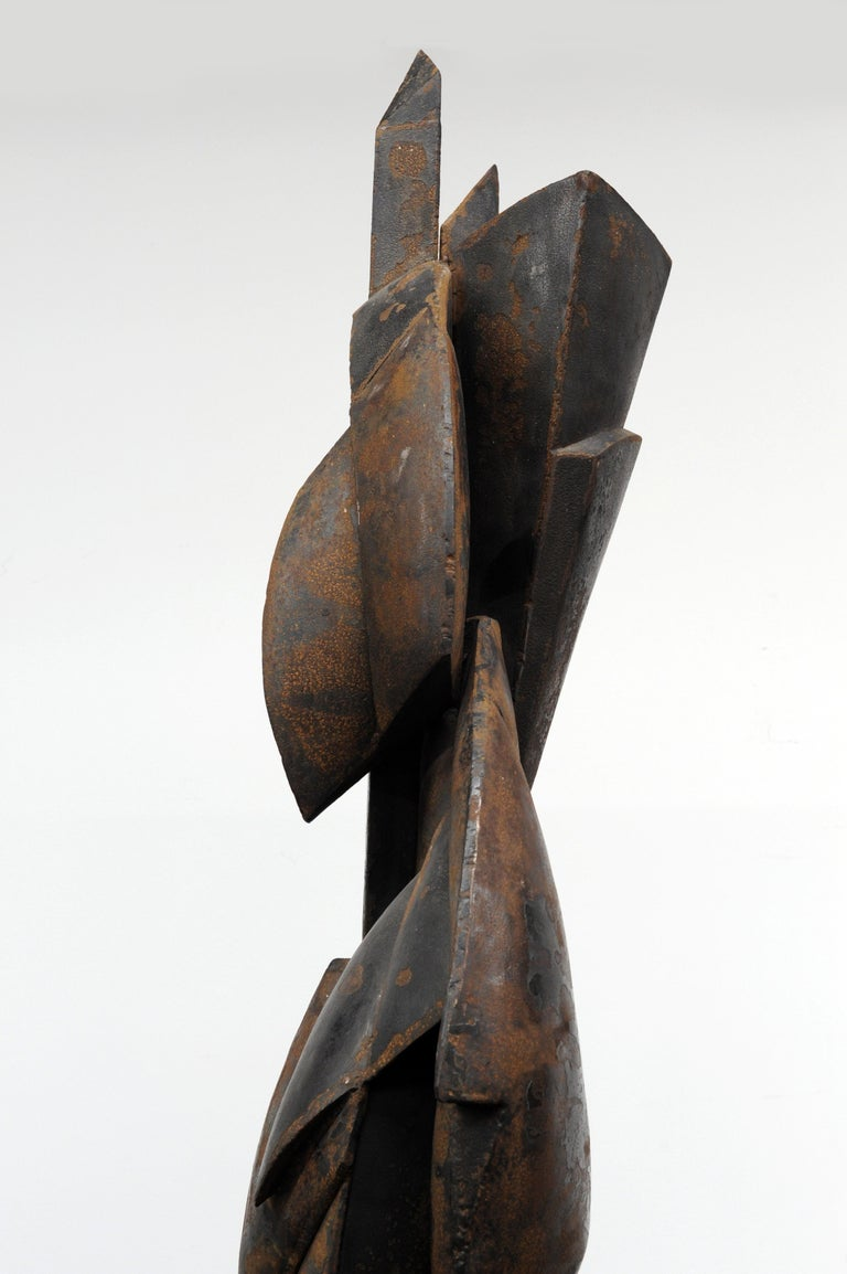 Mid-20th Century Modern Cubist Abstract Metal Sculpture, 1950s For Sale