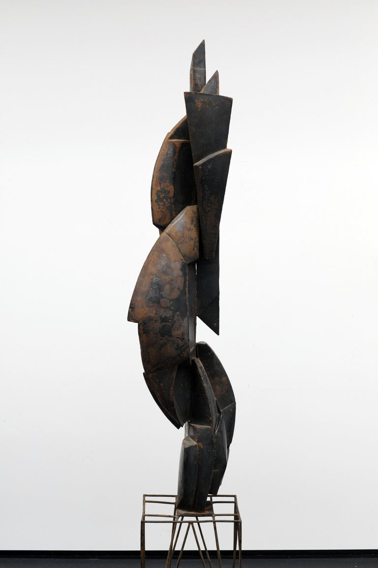 Modern Cubist Abstract Metal Sculpture, 1950s For Sale 1