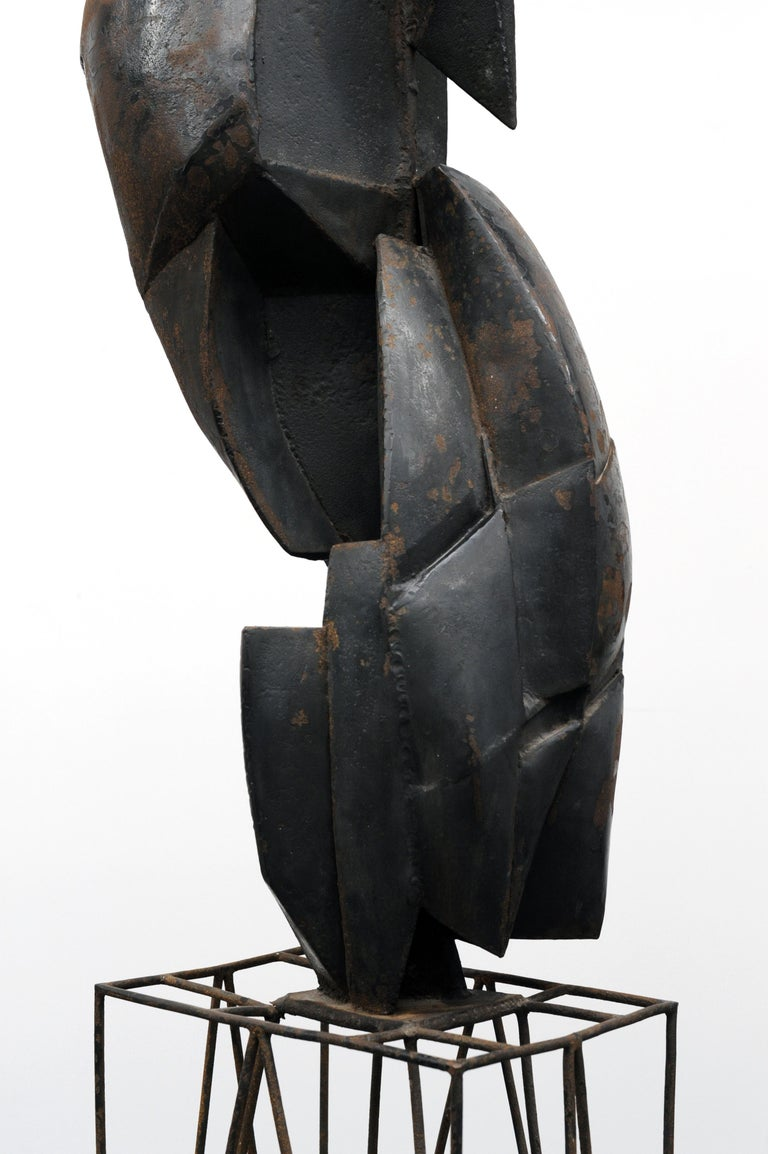 Modern Cubist Abstract Metal Sculpture, 1950s For Sale 2