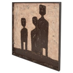 Cubist Style Modern Abstract Art Three Men signed by artist M Chavez