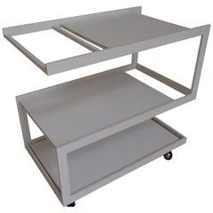 Modern Cubist White Trolley 3 Shelf's White Metal Frame and Wood Shelf's