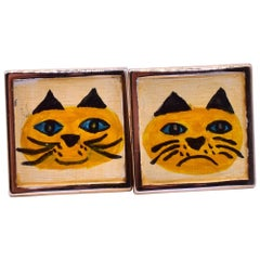 Modern Cufflinks with Painted Cats, circa 1950