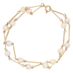 Modern Cultured Pearls 18 Karat Yellow Gold Bracelet