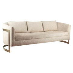 Modern Curved Arm Upholstered Sofa with Brass Legs