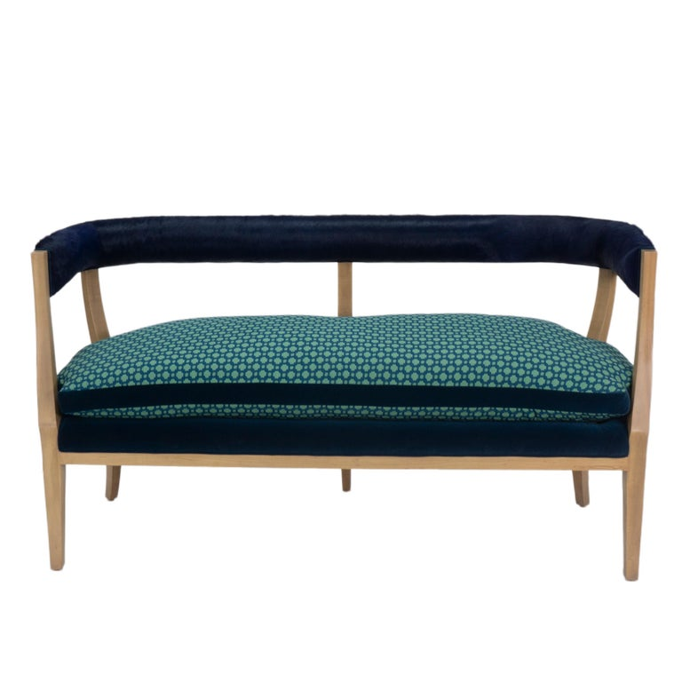 Modern Curved Back Dining Bench With Cowhide Backing