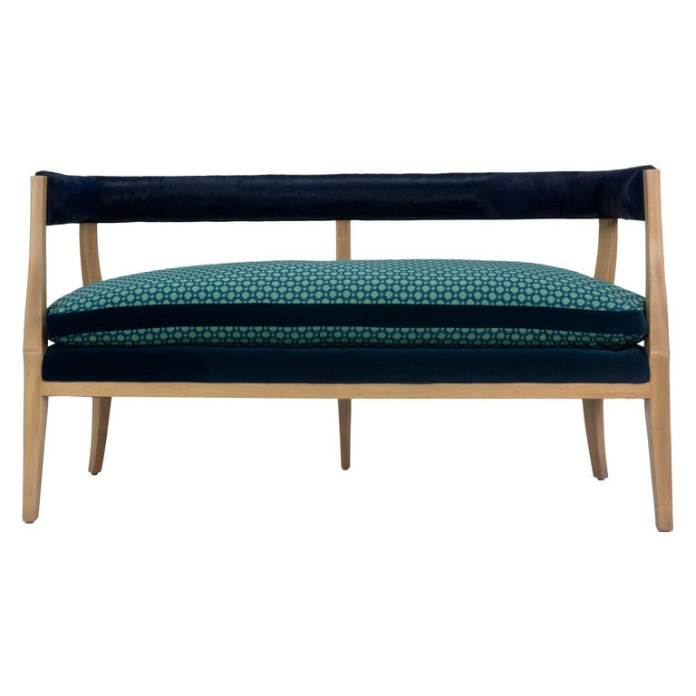 Amazing Modern Curved Back Dining Bench With Cowhide Backing Caraccident5 Cool Chair Designs And Ideas Caraccident5Info