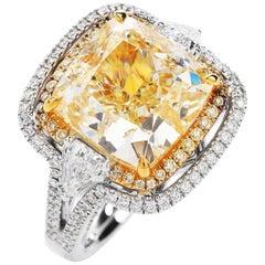 Modern Cushion Shape GIA 10.65 Carat Yellow Diamond 18 Karat Gold Ring