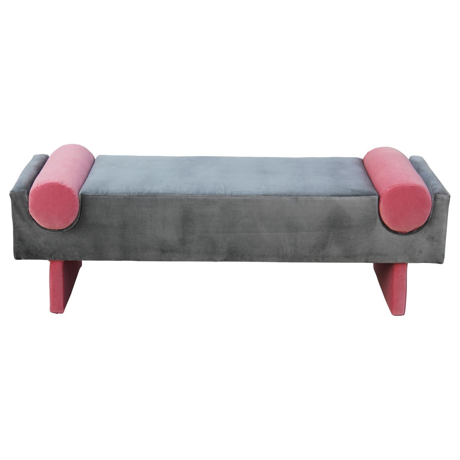 Picture of: Modern Custom Bench In Dark Grey Velvet With Vibrant Pink Velvet Bolster Accents For Sale At 1stdibs