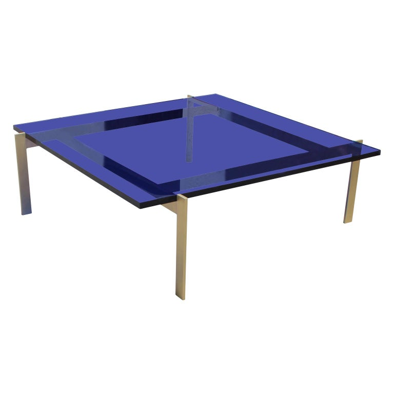 Custom Brass Coffee Table: Modern Custom Blue Lucite Or Acrylic And Solid Brass