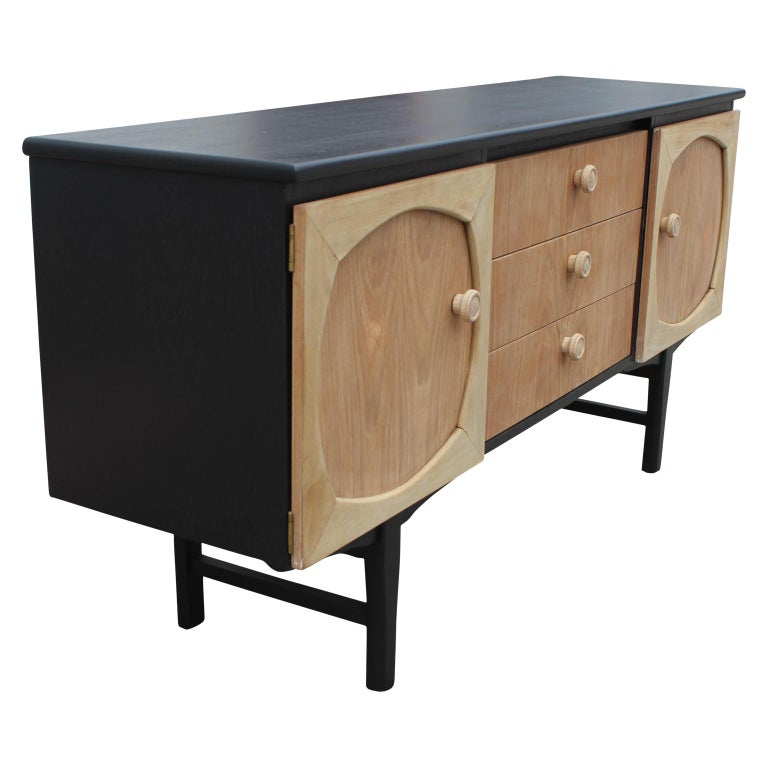 English Modern Custom Danish Style Two-Toned Natural Wood Black Finish Sideboard For Sale