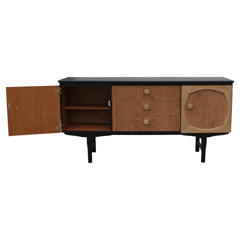 Modern Custom Danish Style Two-Toned Natural Wood Black Finish Sideboard In Excellent Condition For Sale In Houston, TX