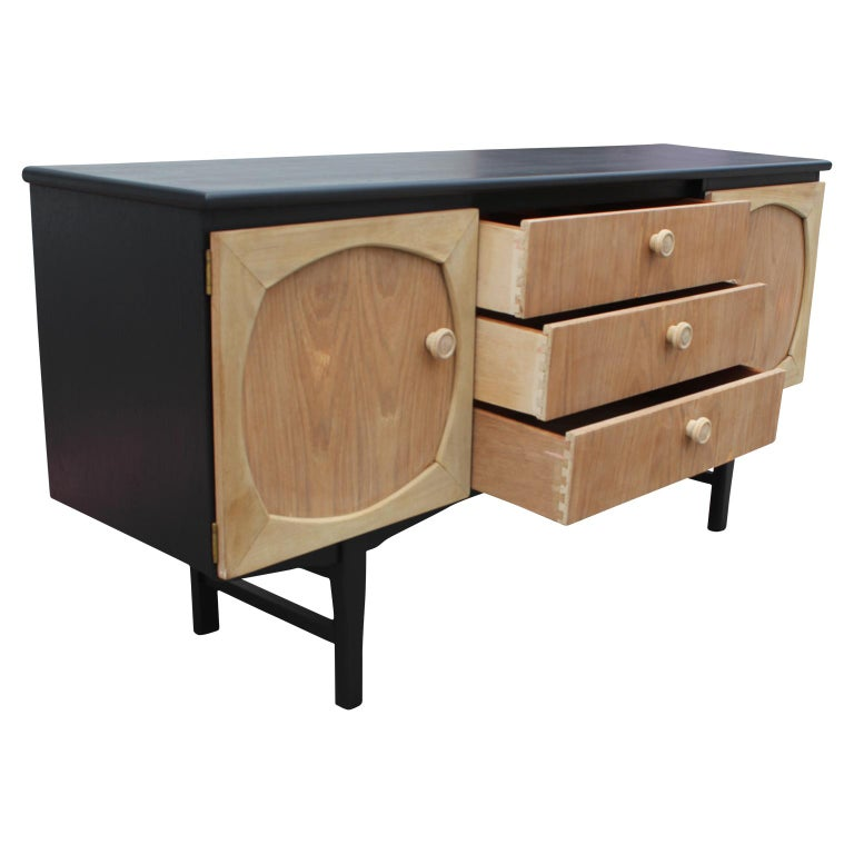 20th Century Modern Custom Danish Style Two-Toned Natural Wood Black Finish Sideboard For Sale