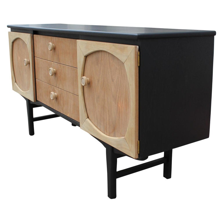 Modern Custom Danish Style Two-Toned Natural Wood Black Finish Sideboard For Sale