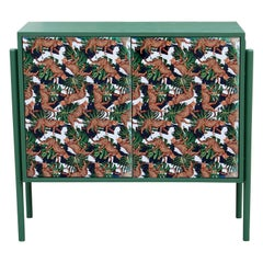 Modern Custom End Table or Cabinet in Green with Sublimated Leopard Print