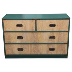 Modern Custom Finish and Green Lacquer Four-Drawer Dresser/Chest of Drawers