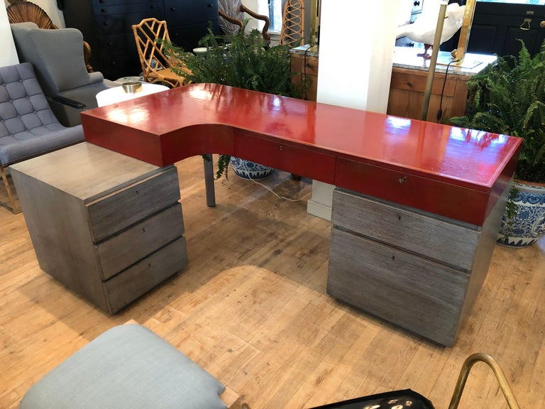 Custom red leather and cerused oak L-shaped corner desk... 1940s  Beautifully and professionally restored. From a North shore estate.