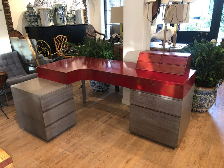 Modern Custom Leather and Cerused Oak L-Shaped Desk In Good Condition For Sale In East Hampton, NY