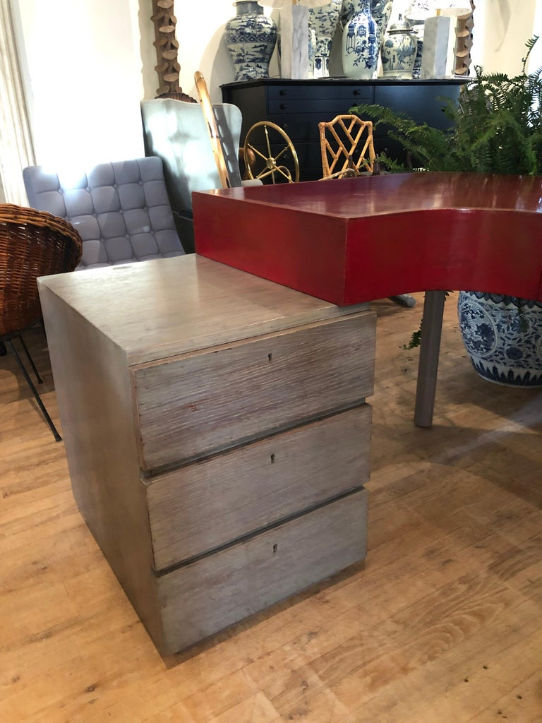 Mid-20th Century Modern Custom Leather and Cerused Oak L-Shaped Desk For Sale
