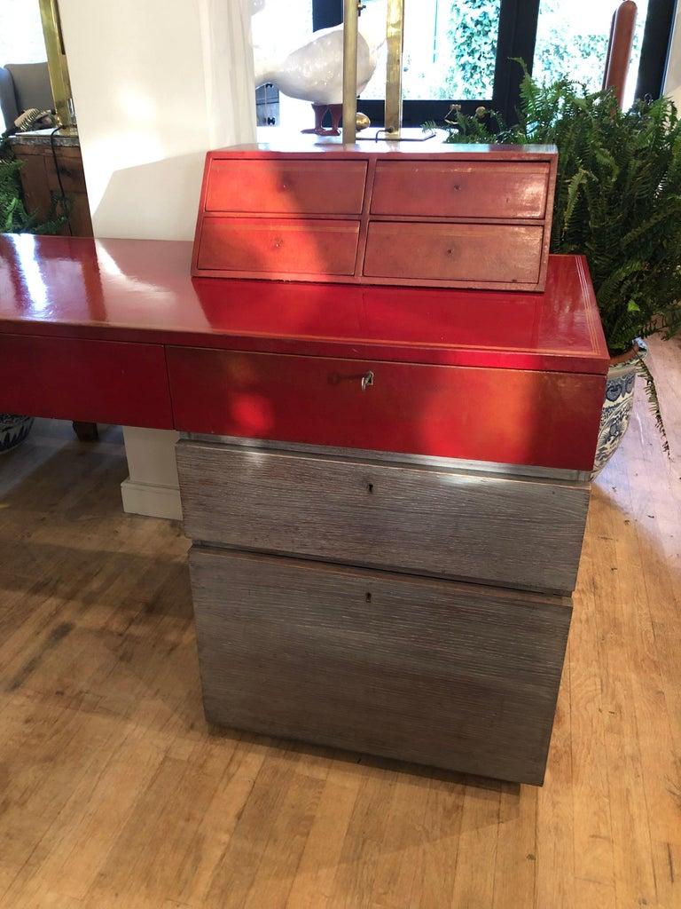 Modern Custom Leather and Cerused Oak L-Shaped Desk For Sale 1