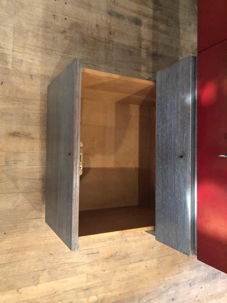 Modern Custom Leather and Cerused Oak L-Shaped Desk For Sale 2