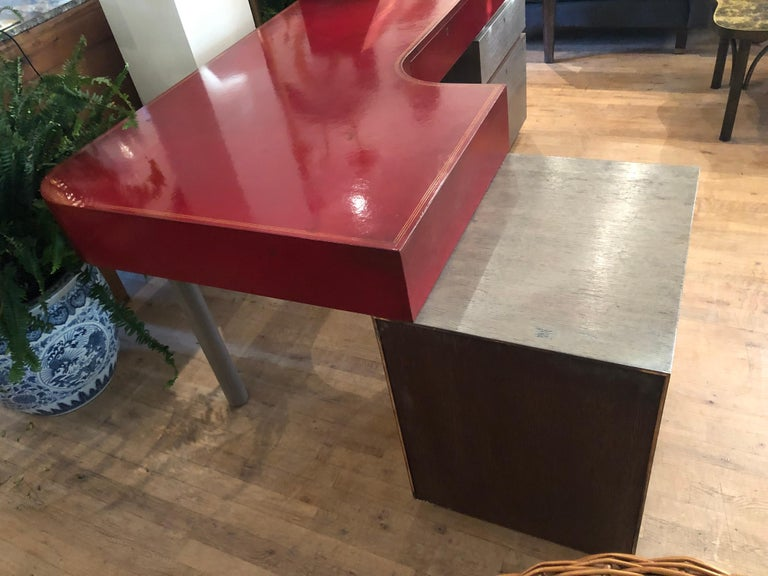 Modern Custom Leather and Cerused Oak L-Shaped Desk For Sale 5