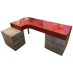 Modern Custom Leather and Cerused Oak L-Shaped Desk