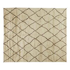 Modern Custom Moroccan Hand Knotted Wool Rug
