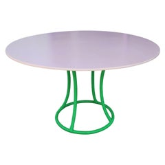 Modern Custom Pink Finish Dining Table with Bright Green Lacquer Rattan Base