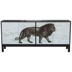 Modern Custom Credenza or Sideboard in Black with Sublimated Lion