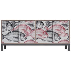Modern Custon Credenza/ Sideboard in Natural Wood and Grey with Sublimated Fish