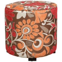 Post Modern Cylindrical Moroccan Pouf Upholstered in Bold Colorful Fabric