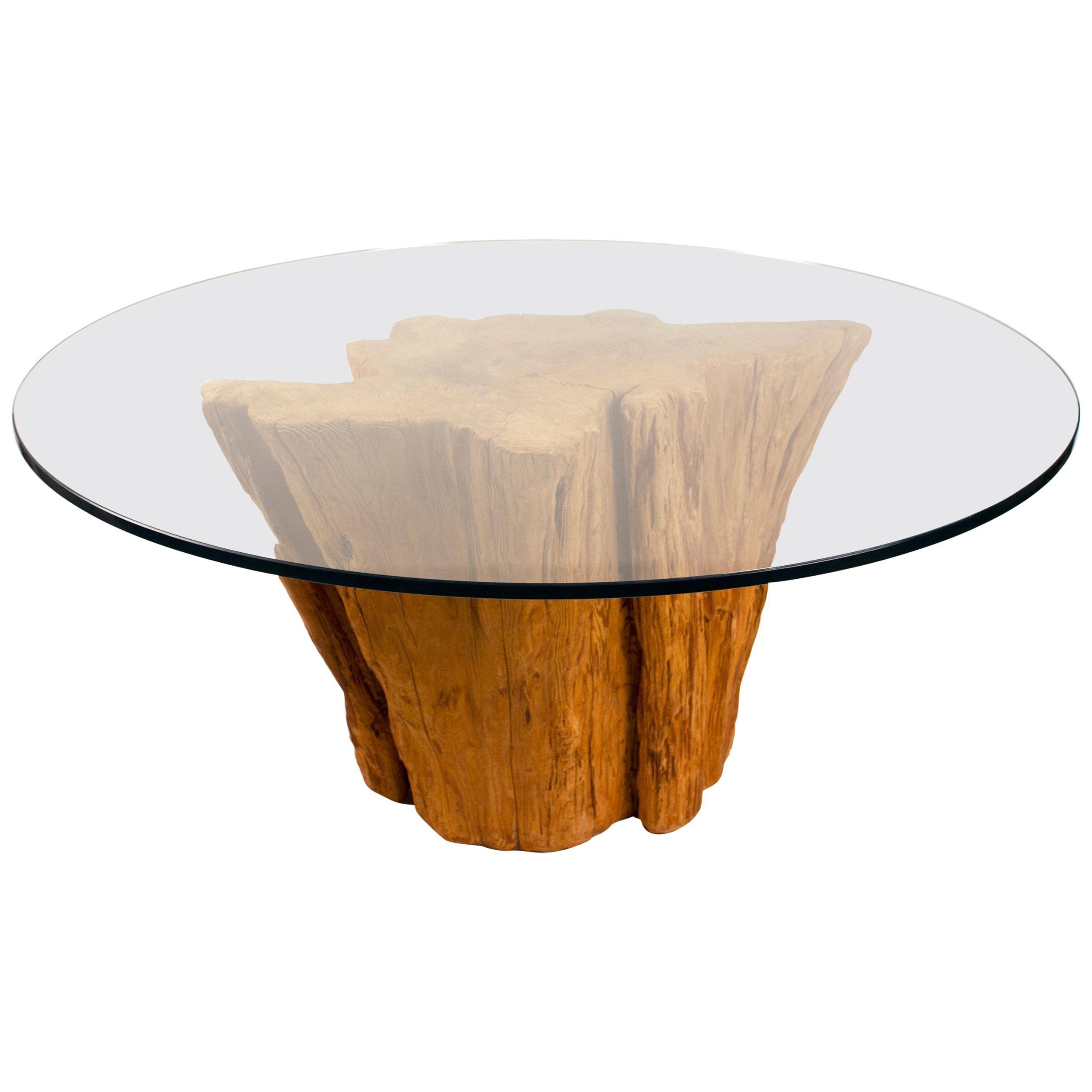 Modern Cypress Tree Trunk Dining Table 1970s Sandblasted Organic Freeform Design
